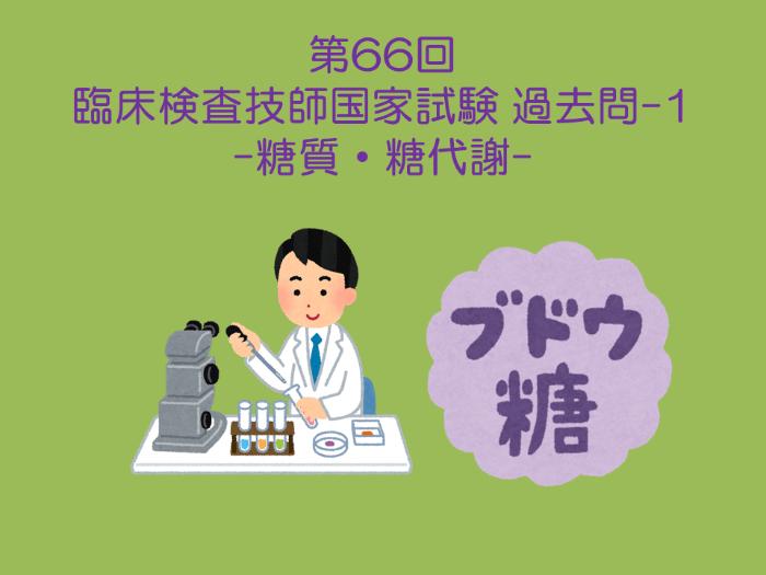 第66回 臨床検査技師国試 生化学・臨床化学(糖質・糖代謝) 過去問-1